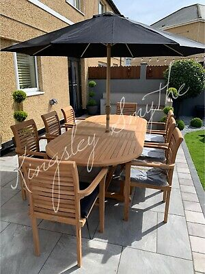 £1049 • Buy Teak Garden Furniture 8 Seater Double Extending Table And Chair Set With Cushion