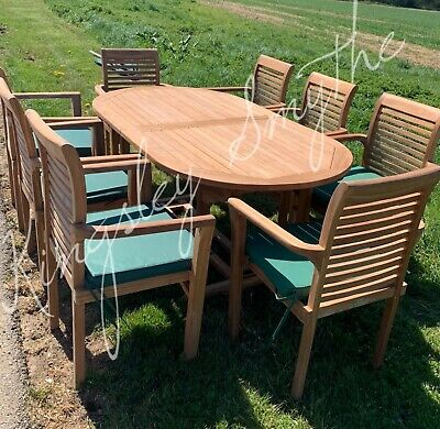 £949 • Buy Teak Garden Patio Furniture 8 Seater Single Extending Table And Chair Set