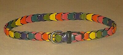 £14.52 • Buy VINTAGE 80s RAINBOW BRAIDED LEATHER BELT WOMENS SIZE SMALL SOLID BRASS BUCKLE