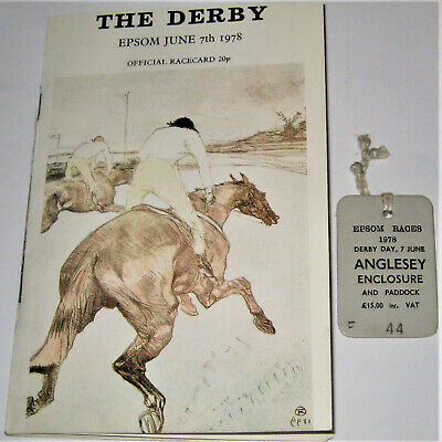 £18.99 • Buy THE DERBY Epsom June 7th 1978 Official Racecard + Enclosure Badge Horse Racing