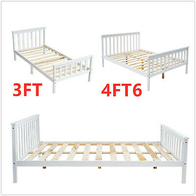 £98.90 • Buy Brand 3FT Single / 4FT6 Double Wooden Bed Frame Solid Pine Sleigh Bed White/Grey