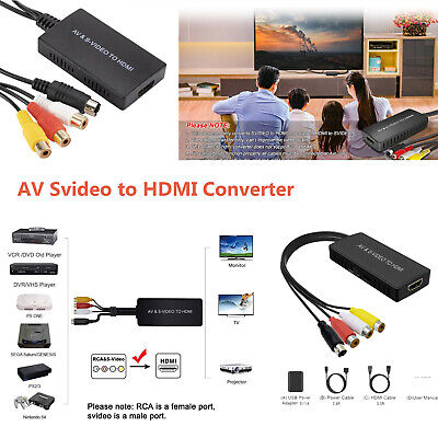 £8.99 • Buy AV Svideo To HDMI Converter PAL/NTSC RCA To HDMI Adapter For PS2 Video Games