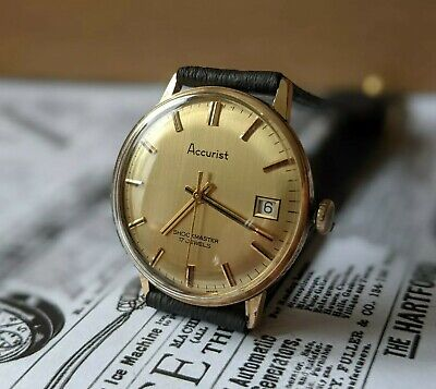 £69.95 • Buy Gents Vintage Accurist Baton Dial Gold Plated Date Function Watch - Working