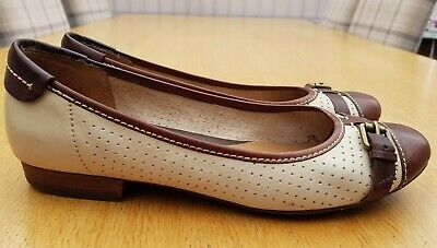 £18.99 • Buy Clarks Henderson Fun Active Air Cream / Tan Leather Ballet Pumps Shoes Size 6