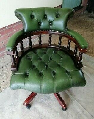 £250 • Buy Reproduction Antique Chesterfield Green Leather Captains Swivel Office Chair