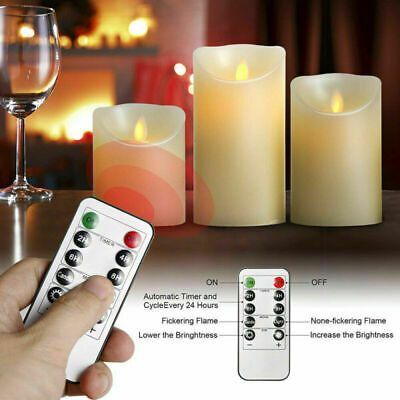 £8.99 • Buy 3Set Flickering LED Candles Real Wax Battery Powered Lights Remote Control Lamps