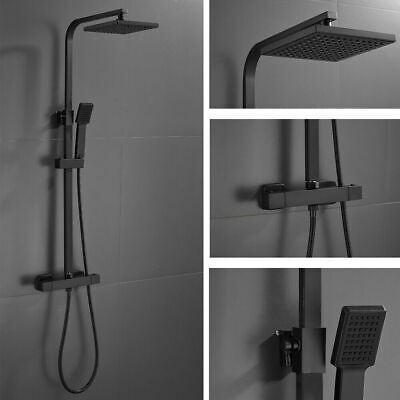 £61.99 • Buy Bathroom Thermostatic Exposed Shower Mixer Tap Twin Head Large Square Bar Set