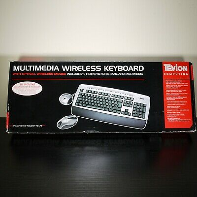 £8.97 • Buy Tevion MD-40287 Multimedia Wireless Keyboard With Optical Wireless Mouse Working