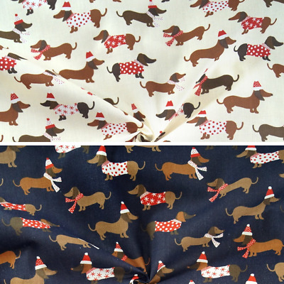 £2.90 • Buy Polycotton Fabric Christmas Dachshunds In Jumpers Dogs Xmas Festive