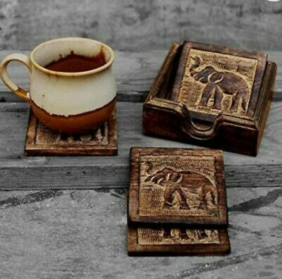 £6.99 • Buy Brand New Hand Carved Wooden Elephant Coasters Set With Holder