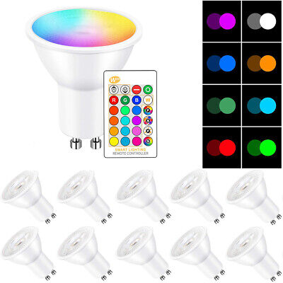 £6.99 • Buy RGB GU10 LED Light Bulbs Remote Control Colour Changing Dimmable Spot Light Bulb