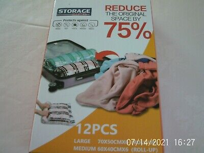 £7.99 • Buy Storage Master 12 Space Saver Compression Bags 6 Lge 6 Med Travel Roll-Up Store