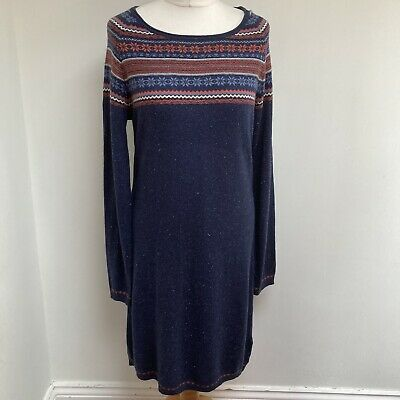 £20 • Buy WEIRD FISH Jumper Dress Size  12 Navy Speckled Fair Isle Style Detail Cotton Mix