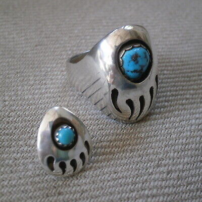 £44.99 • Buy Native American Silver & Turquoise Bear Claw Ring Uk Size T & Matching Tie Pin