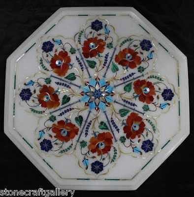 £269.76 • Buy 18  Marble Side End White Table Top Inlay Carnelian Floral Art For Home Decor