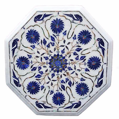 £309.77 • Buy 18  X 18  Side Table Top Marble Lapis Inlay Floral Handmade Home & Garden Decor
