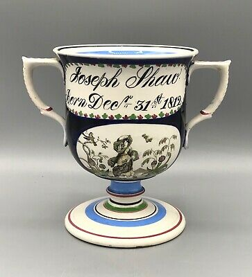 £360 • Buy  Antique  Pearlware Transfer Printed Named And Dated Loving Cup