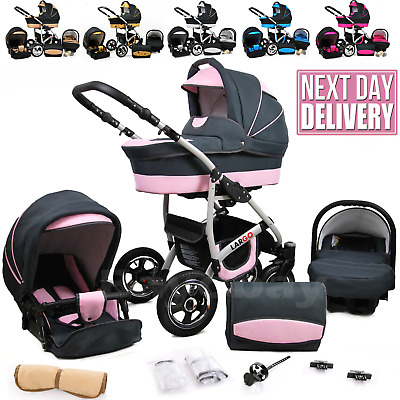 £298 • Buy Baby Buggy Pram Car Seat 3 In 1 Travel System Pushchair All In One From Birth
