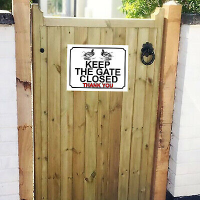£5 • Buy Please Close The Gate Duck Themed Metal Gate Sign Plaque 150mm X 200mm 806H1