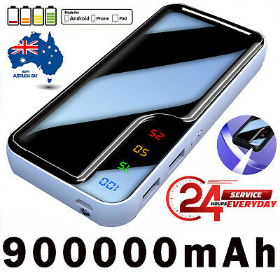 AU16.88 • Buy 900000mAh External Charger Power Bank Portable LCD 2USB Battery For Mobile Phone