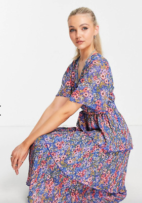 £21.95 • Buy ASOS DESIGN Tiered Pleated Midi Dress Navy Disty Floral Print @ UK 8