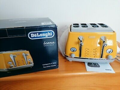 AU75.47 • Buy Delonghi Icona Capitals Yellow 4 Slice Toaster Brand New Boxed Mint CTOC4003.Y