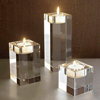 £13.89 • Buy Set Of 3 Tall Glass Large Candle Holders Centrepiece Tea-Light Wedding Candles