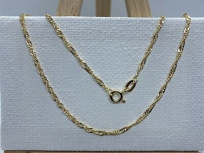 £54.99 • Buy 9ct 375 Yellow Gold 1.5mm Singapore Link Chain Necklace ALL SIZE Brand NEW