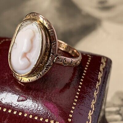 £185 • Buy Victorian Cameo Ring 9ct Chased Rose Gold Angel Skin Coral Antique Intaglio UKO+