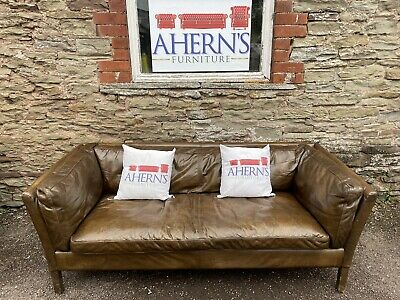 £650 • Buy *Brown Leather John Lewis Reggio Sofa Made By Halo FREE DELIVERY 🚚*