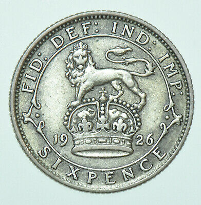 £4 • Buy 1926 George V Sixpence, British Silver Coin Gvf