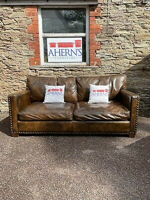 £650 • Buy *Brown Leather William Viscount Sofa Made By Halo FREE DELIVERY 🚚 *