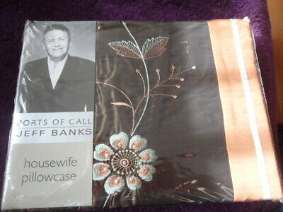 £2 • Buy 2 X Jeff Banks Ports Of Call Housewife Pillowcase - Madelaine - Duck Egg - New