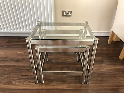 £20 • Buy M&S Satin Chrome And Glass Nest Of Tables