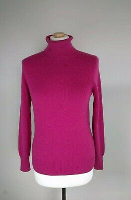 £28.99 • Buy M&s Stunning 100% Cashmere Raspberry Pink Roll Neck Jumper Size 10 In Vgc