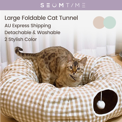£25.90 • Buy Large Cat Foldable Hiding Tunnel & Large Soft Cushion Bedding Pet Toy 2 Colors