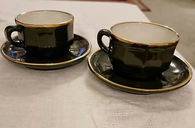 £9 • Buy 2  X  APILCO GREEN & GOLD SMALL COFFEE TEA CUPS AND SAUCERS FRENCH BISTRO WARE
