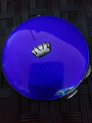 £90 • Buy Antique Solid Silver Compact. Blue Guilloche Enamel Lid. Engine Turned Back.