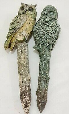 £14.95 • Buy Rare Vintage Pair Of Resin Owl Stakes Ornament Statues Garden Indoor Outdoor