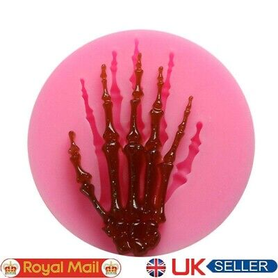 £2.49 • Buy Skeleton Hand Halloween Cake Decorating Icing Topper Silicone Mould Resin