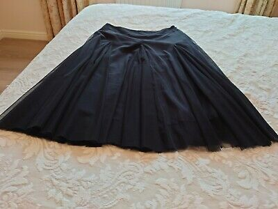 £4.50 • Buy Ladies Black Monsoon Fit And Flare Net Overlay Lined Skirt Size 12