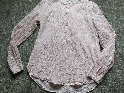 £1.50 • Buy Pink/white Crinkle Striped Grandad Style Shirt By H & M LOGG Generous Size 6