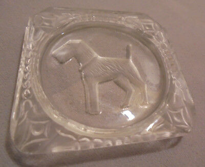 £14.62 • Buy Ashtray, Salt Dip, Intaglio, Airedale Terrier, Crystal, 2.5 X2.5  Tall Vintage