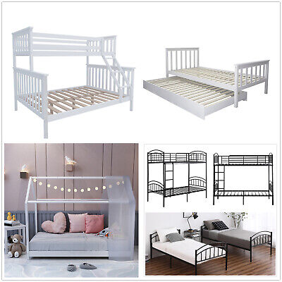 £159.99 • Buy Solid Pine Triple Bunk Bed Frame & Pull Out Bed Set - 3FT Single,4FT6 Double Bed