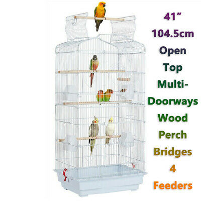 £26.47 • Buy 41  Open Top Large Metal Bird Cage Parrot Cage Budgie Canary Cockatiel Birdcage