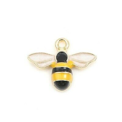 £2.20 • Buy Bee Charm Pendant Gold Plated Enamel Bumble Pack Of 6