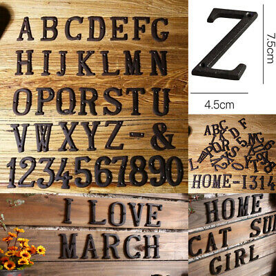 £3.29 • Buy Retro Cast Iron Letters A-Z Number 0-9 House Sign Doorplate Cafe Wall DIY Decors