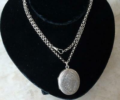 £135 • Buy ANTIQUE VICTORIAN OVAL SILVER LOCKET & CHAIN Silver Front & Back ENGRAVED DESIGN