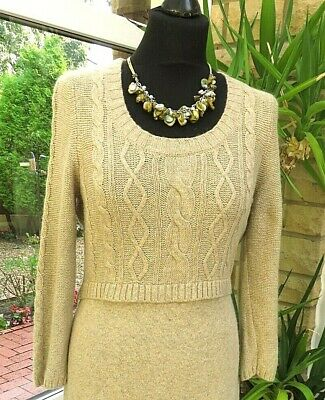 £8.99 • Buy Beautiful MONSOON Beige Cable Knit 40% Cotton With Angora Dress Sz 12-14
