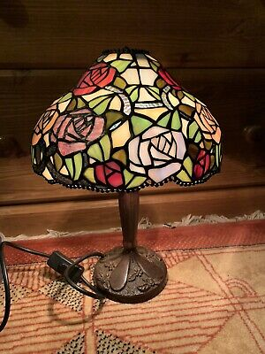 £40 • Buy Vintage Table Lamp Tiffany Style Large Rose Pattern Shade Stained Glass Flower